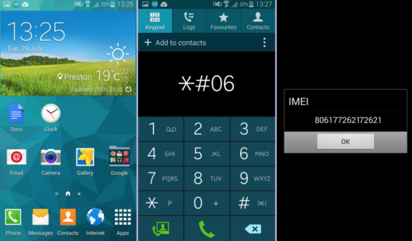 Find Samsung IMEI Number